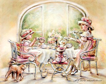 "Tea party, High tea, Dolls, English tea, sisters,Art  ""Teatime With Big Sister"" Laurie Shanholtzer, Canvas or art paper print"