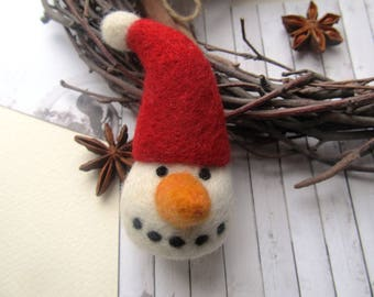 Needle felt snowman Christmas decoration Snowman figurine Christmas decor Holiday gift Snowman ornament Snowman decor Felt christmas Winter