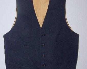 ON SALE Antique Edwardian  Black Men's Wool Silk Vest Waistcoat