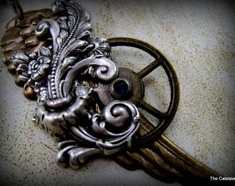 Steam Punk Wing Necklace, Gear, Flourish, Sapphire Watch Crown