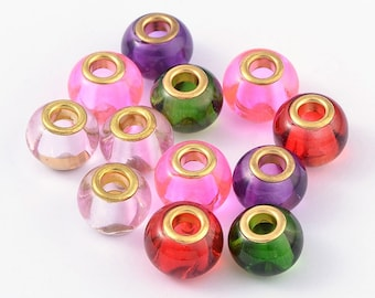 Glass European Beads, with Golden Brass Cores, Large Hole Beads, Rondelle, Mixed Color, 15x12mm, Hole: 5mm  093