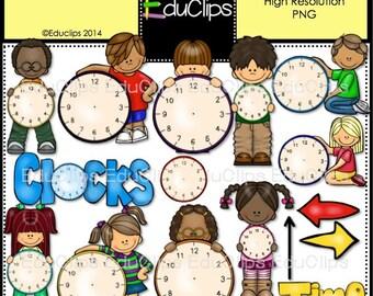 Kids And Clocks Clip Art Bundle