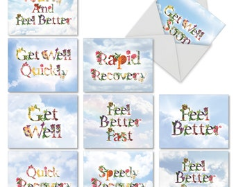 M2359GWG-B1x10 Bunches of Well Wishes: 10 Asst. Get Well Cards Ft. Flower Filled Fonts That Relay Get Well Wishes Against a Sky Background.