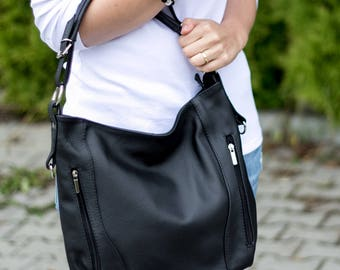 LEATHER HOBO Bag, SHOULDER Bag, Leather Purse, Black Women's Handbag, Leather Handbag, Everyday Crossbody, Leather Bag, Leather Laptop Bag
