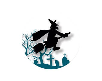 2 cabochons 20 mm glass blue witch Halloween - 20 mm