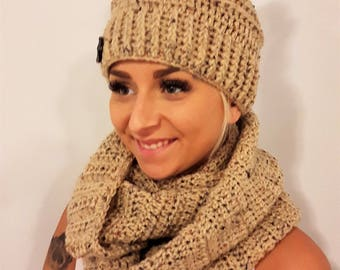 duo set bunny mess beanie and infinity scarf