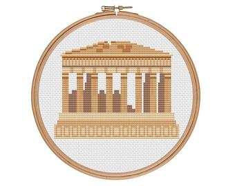 Parthenon cross stitch, Acropolis cross stitch, Greece cross stitch, Ancient Greece, Athens, Easy cross stitch, Cross stitch pattern, PDF