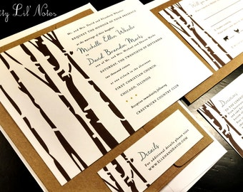 Fall Birch Tree Forest Custom Wedding Invitation Set Nature Kraft Elegant Outdoor Romantic Hipster Navy Brown Simple Modern Horizontal