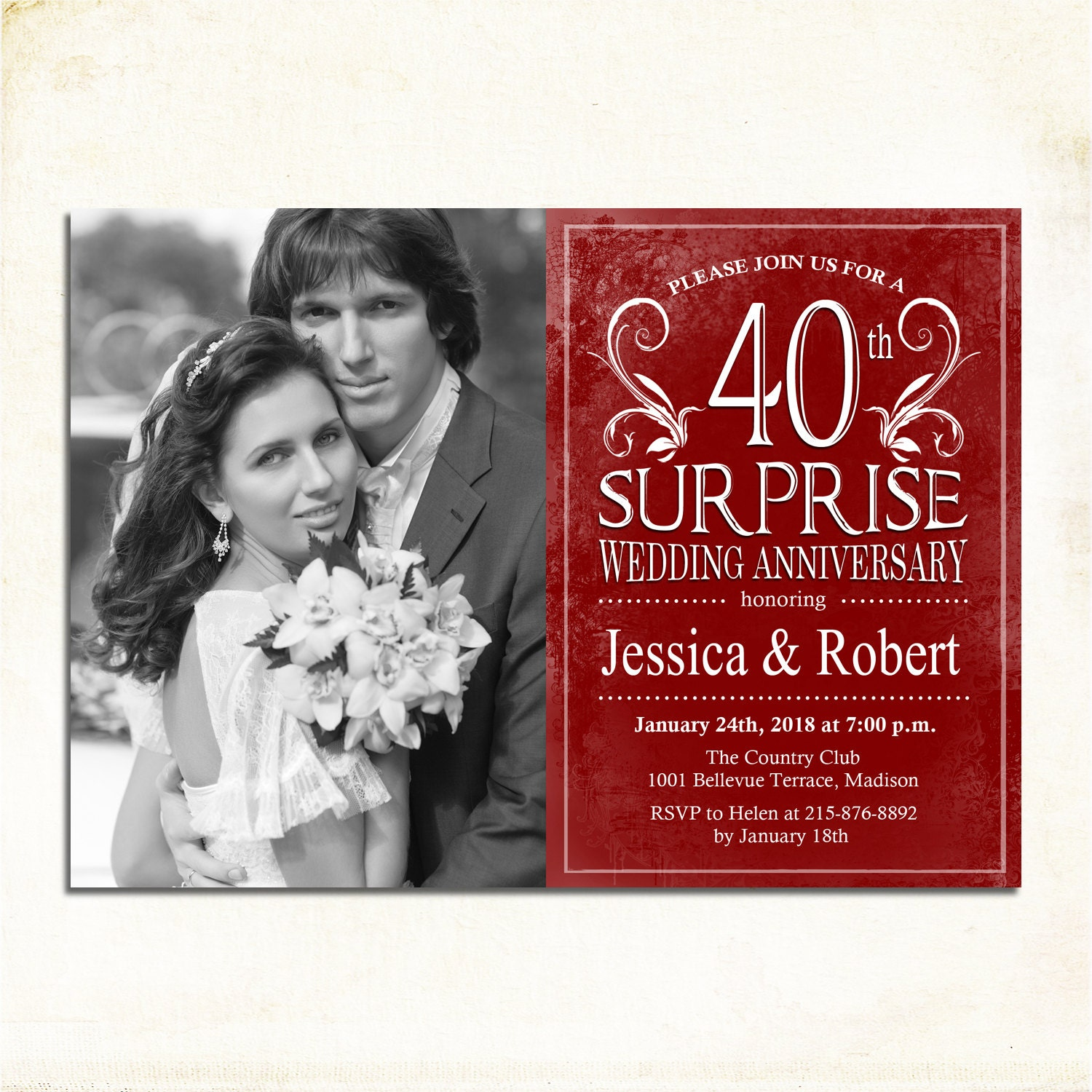 Surprise 40th Wedding Anniversary / With Photo / 45th / 50th /