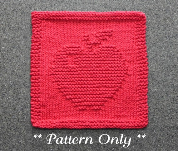 Apple Dishcloth Knitting Pattern Pdf Instant Download Knit