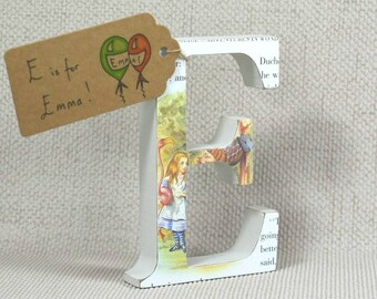 """Alice in Wonderland Letters, Handpainted with Free Gift Wrapping! 2 Heights Available: 10cm/4"""" (Cake Toppers) & 13cm/5.10"""" (Birthday Letter)"""