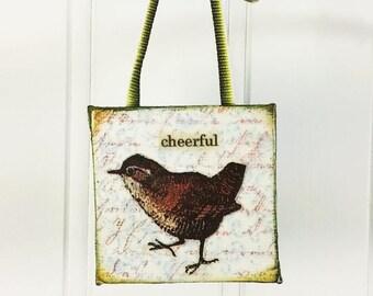 Cheerful Bird Ornament, Whimsical Brown Wren Word Art Mini Wall Hanging