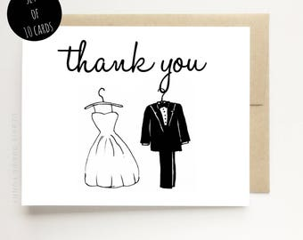 Wedding Thank You Cards - Thank you from the Bride and Groom - Wedding Thank You Cards - Thank You Card Set Wedding, Wedding thank you notes