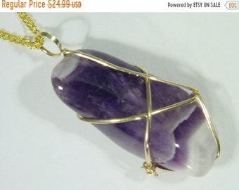 20% OFF 14 kt Gold Filled Wire Wrapped Natural Chevron Amethyst Dogtooth Pendant 5266D