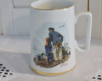 Vintage Norman Rockwell Collectible Mug Looking Out to Sea 1985 PanchosPorch
