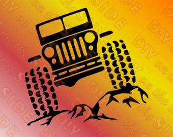 SVG Cut File Jeep Wheeling Crawling Front View Instant Download