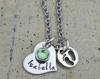heart Hand stamped name pendant necklace with birthstone crystal and  baby feet great gift forgrandma New baby mom girl boy child