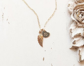 Personalized Angel Wing Necklace, Memorial Necklace, Charm Necklace, Angel Wing Charm, Dainty Initial Necklace, Sterling Silver, Gold Fill