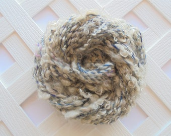 OCEAN WAVES Handspun Boucle Yarn, Kid Mohair Locks, Mulberry Silk, Soft Handspun Yarn, Textured Yarn, Chunky Knit Yarn, Weaving Yarn, Knit