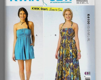 K4100 Kwik Sew Romper and Dress Sewing Pattern Sizes XS-XL Learn to Sew Pattern