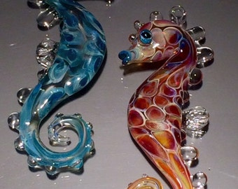 one Handblown glass Seahorse Ornament, for the Holidays or any day.
