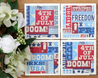 Patriotic Coasters - Red White and Blue Coasters - 4th of July Coasters - USA Coasters - Tile Coasters - Coasters - Coaster Set of 4