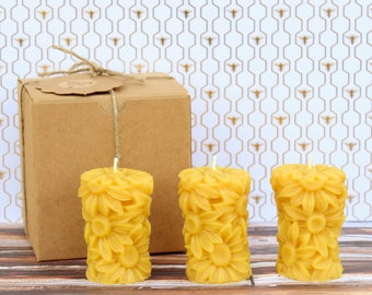 Handmade Candles. 100% Natural Beeswax Candles. Set of 3.