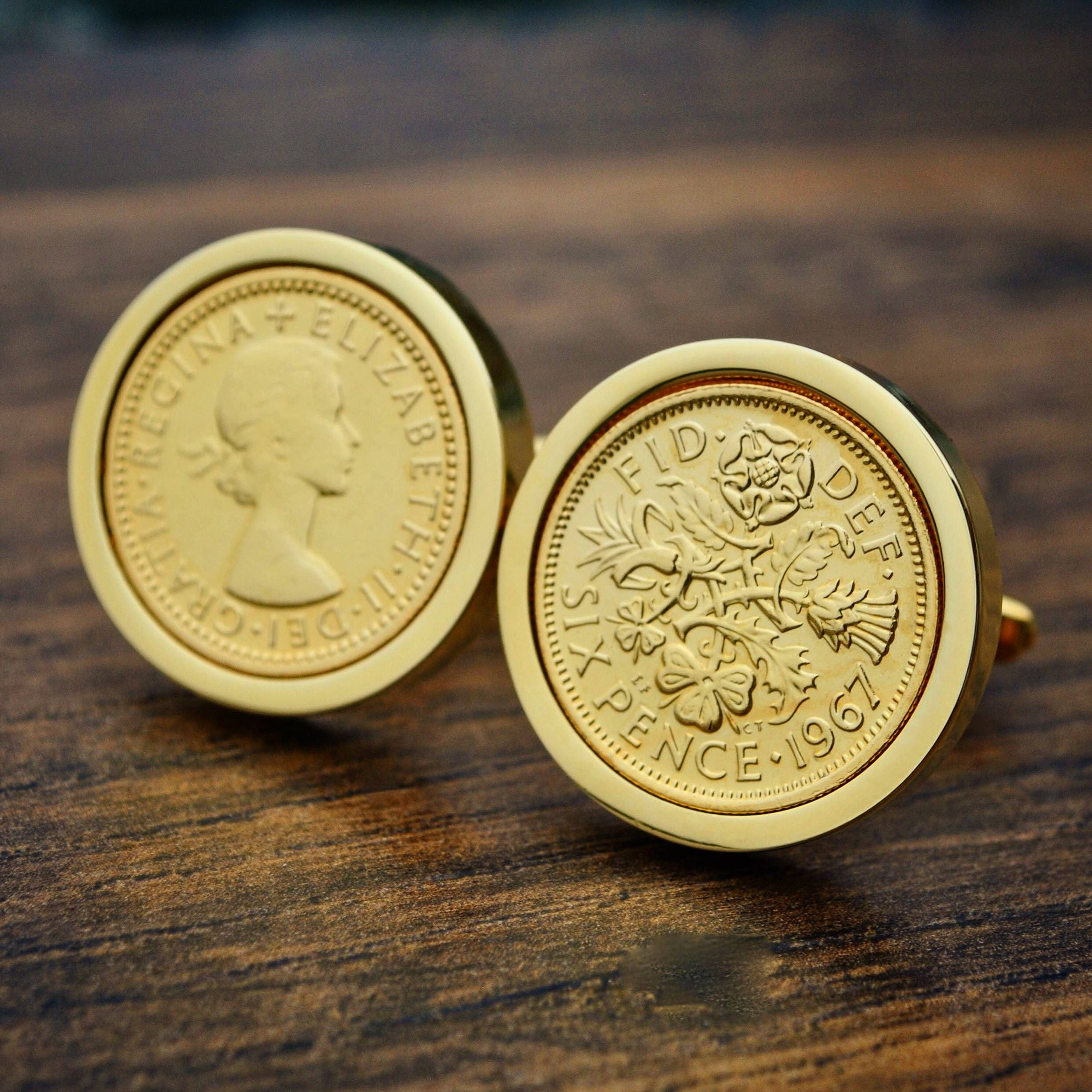 1967 Cufflinks Gold Sixpence Coin Cufflinks Golden Wedding