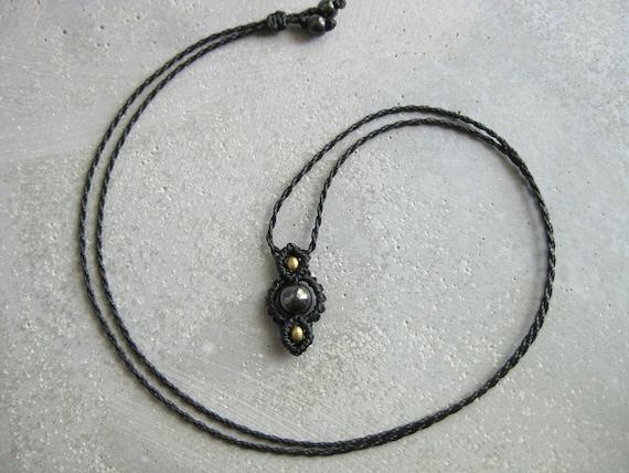 Dainty Hematite Choker/Pendant Fully Adjustable . © Design by .. raïz ..