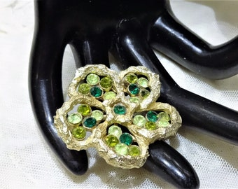 Pretty Vintage Coro Shades of Green Rhinestone Floral Brooch