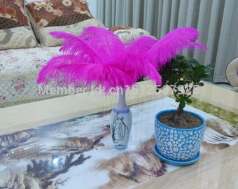 Hot! Sale 50 200PCS / lot Pink Ostrich Feather 10-12 inches / 25-30cm DIY Wedding Decorations Interior
