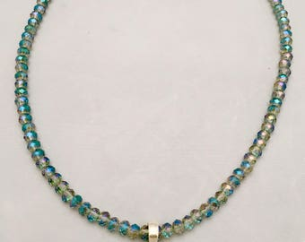 Necklace with Larimar pendant and crysals with matching earrings