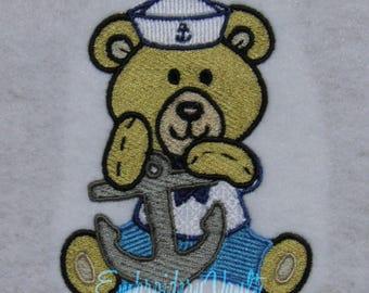 Nautical, Sailor Bear #6 Embroidery design, Multiple Formats