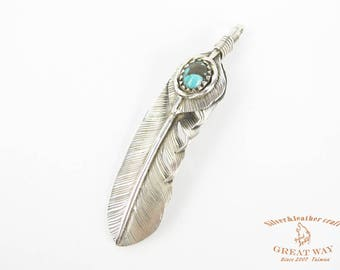 Navajo Jewelry silver--925 sterling silver Feather with Turquoise pendant / handmade / Great Way / Native American style / Navajo Jewelry