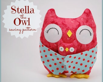 Stella the Owl Sewing Pattern. Plushie sewing pattern. Owl softie to sew. Mama and baby owl. Step-by-Step Photos and Easy Instructions.