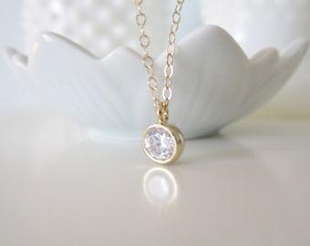 Tiny sparkle necklace, amelie, delicate modern jewelry