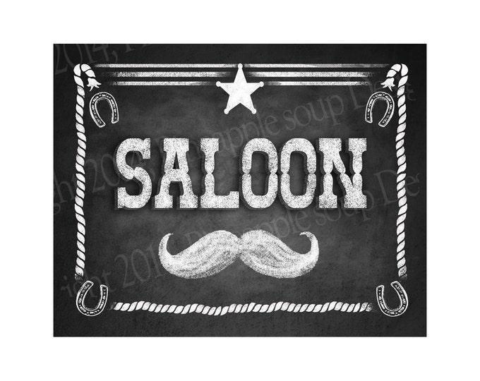 Western Themed Wedding Bar sign - SALOON - Rustic Chalkboard Style - PRINTABLE file  DIY Western Wedding signage