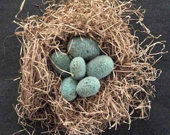 Primitive FOLK ART EGGS--Set of 6 Blue Quaint Folk Art Eggs-Needle Felted from Wool