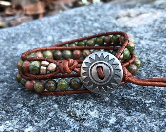 Unakite Double Wrap Bracelet, Natural Stone Wrap Bracelet, Sunshine Wrap Bracelet, Neutral Wrap Bracelet, Wrapped Cord Bracelet