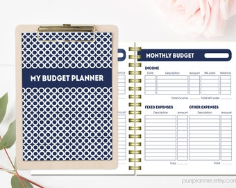 Printable Budget Planner, Letter size financial organizer, budget book, expense tracker, bill organizer, household budget