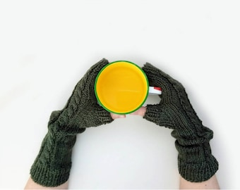 Fingerless Handwarmers - Mitts Mittens Gloves - Arm  Warmers - Cable Knit Handmade Gloves - Knitted Handwarmers - Knitted Braid Gloves