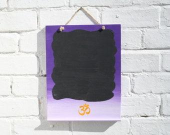 Purple blackboard with Om symbol - Purple chalkboard - Customised chalkboard - spiritual gift - wooden chalk board - Colorful blackboard