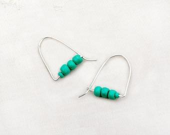 Silver Beaded Hoop Earrings Silver Jewelry Handmade Earrings Turquoise Shade Earrings Teal Earrings Cute Earrings Free Shipping from Israel