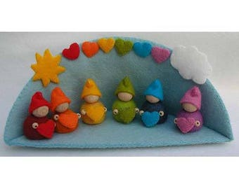 Sewing Kit: the Rainbow House and his elves / creative DIY miniature Sewing Kit