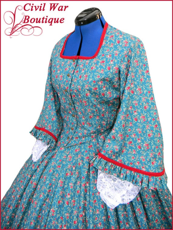 Victorian Dresses | Victorian Ballgowns | Victorian Clothing 1800s 2 pc Civil War Victorian Dark Teal Green with Red Roses Tea Dress Day Gown Gorgeous New Reenactors Handmade1800s 2 pc Civil War Victorian Dark Teal Green with Red Roses Tea Dress Day Gown Gorgeous New Reenactors Handmade  AT vintagedancer.com