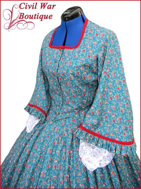 Old Fashioned Dresses | Old Dress Styles 1800s 2 pc Civil War Victorian Dark Teal Green with Red Roses Tea Dress Day Gown Gorgeous New Reenactors Handmade1800s 2 pc Civil War Victorian Dark Teal Green with Red Roses Tea Dress Day Gown Gorgeous New Reenactors Handmade  AT vintagedancer.com