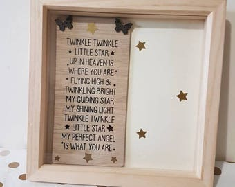 Twinkle Twinkle Box frame Baby Memorial In Loving Memory Still Born Child Miscarriage gift Memorial Gift Loss of Child Born Into Heaven
