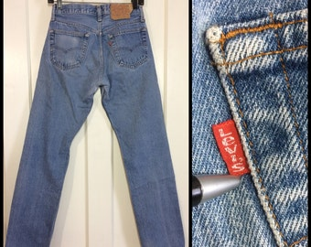 Levi's Faded Blue denim 501's measures 27.5x30.5 Straight Leg button fly made in USA Boyfriend Jeans #278