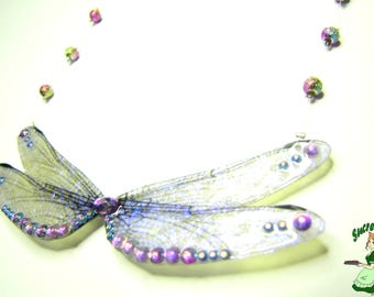 Dragonfly wings necklace iridescent purple Blue Fairy Wings.