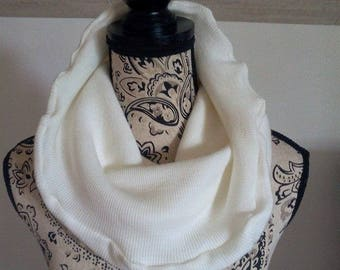 Snood scarf mixed cream ribbed knit